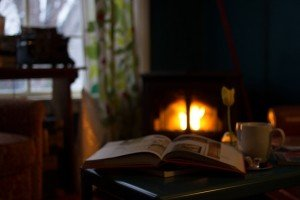 book-on-table-in-front-of-fireplace